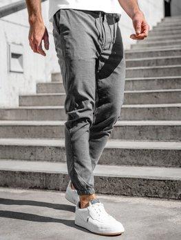 Antracitové pánské textilní jogger kalhoty Bolf 0011