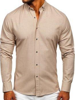 Béžová pánská bavlněná košile s dlouhým rukávem Bolf 20701