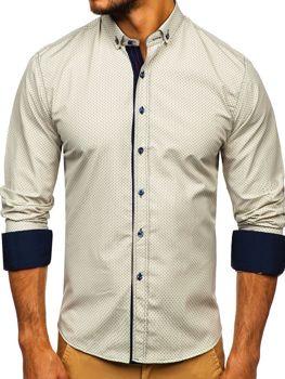 Béžová pánská vzorovaná košile s dlouhým rukávem Bolf 9707