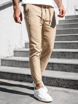 Béžové pánské textilní jogger kalhoty Bolf 0011