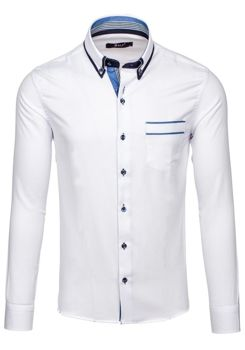 Bílá pánská elegantní košile s dlouhým rukávem Bolf 6938