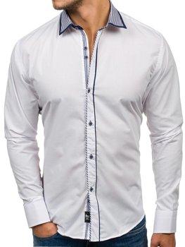 Bílá pánská elegantní košile s dlouhým rukávem Bolf 6940