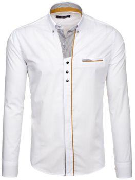Bílá pánská elegantní košile s dlouhým rukávem Bolf 6956