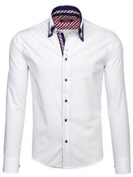 Bílá pánská elegantní košile s dlouhým rukávem Bolf 6963