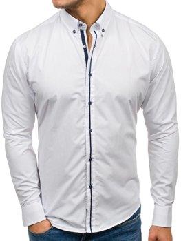 82ba00a60d0 Bílá pánská elegantní košile s dlouhým rukávem Bolf 7726