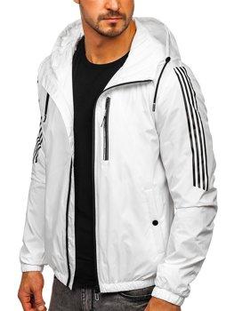 Bílá pánská přechodová sportovní bunda s kapucí Bolf 6172