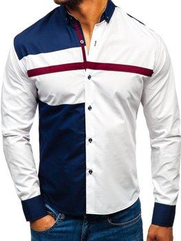 Bílá pánská vzorovaná košile s dlouhým rukávem Bolf 5729-A