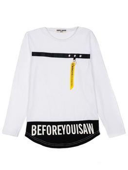 Bílé chlapecké tričko s dlouhými rukávy s potiskem Bolf HB1906
