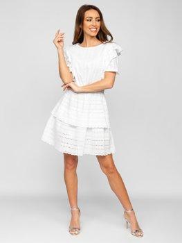 Bílé dámské bavlněné šaty boho Bolf 2426