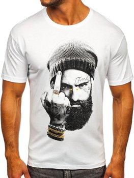 Bílé pánské tričko s potiskem Bolf 142175