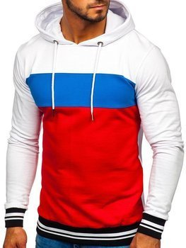Bílo-červená pánská mikina s kapucí Bolf 145366