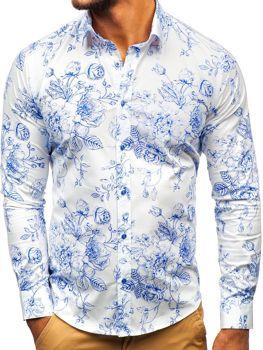 Bílo-modrá pánská vzorovaná košile s dlouhým rukávem Bolf 200G66