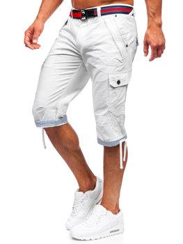 Bílo-tmavě modré pánské džínové kapsáčové kraťasy s páskem Bolf S001BB
