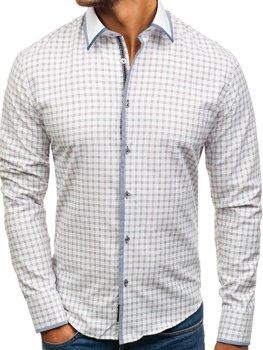 Bílo-vínová pánská kostkovaná košile s dlouhým rukávem Bolf 8812