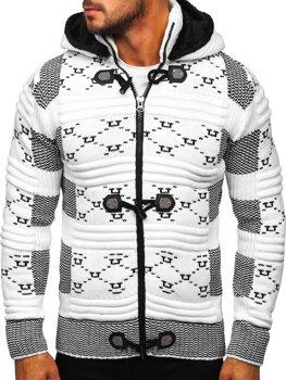 Bílý pánský silný svetr na zip s kapucí bunda Bolf 2059
