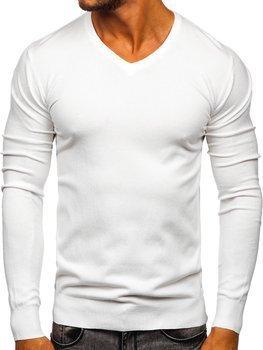 Bílý pánský svetr s výstřihem do V Bolf YY03