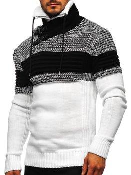 Bílý silný pánský svetr s vysokým límcem Bolf 2002