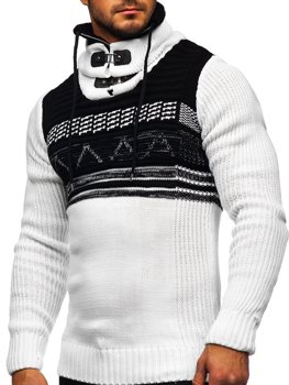 Bílý silný pánský svetr s vysokým límcem Bolf 2020