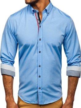 Blankytná pánská vzorovaná košile s dlouhým rukávem Bolf 8843