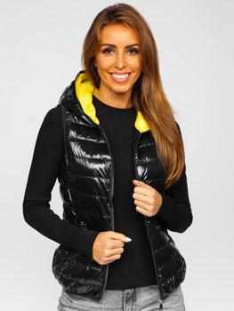 Černá dámská prošívaná vesta s kapucí Bolf R9549