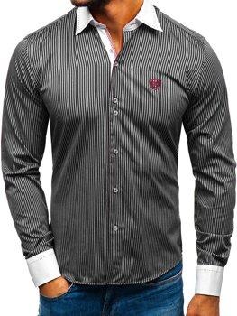 Černá elegantní pánská proužkovaná košile s dlouhým rukávem Bolf 4784-A