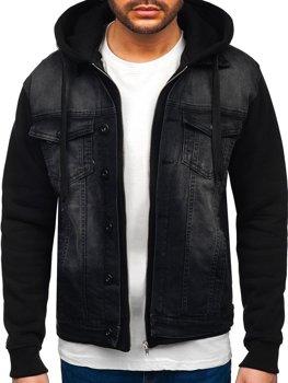 Černá pánská džínová bunda s kapucí Bolf 10350