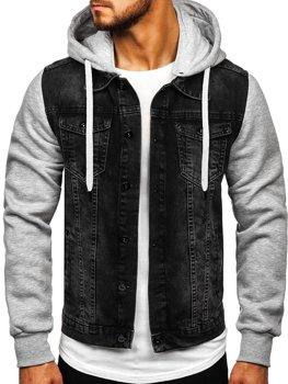 Černá pánská džínová bunda s kapucí Bolf 211902