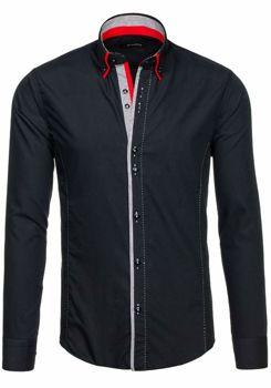 Černá pánská elegantní košile s dlouhým rukávem Bolf 6859