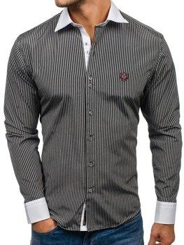 c4283ed0035 Černá pánská elegantní pruhovaná košile s dlouhým rukávem Bolf 4784