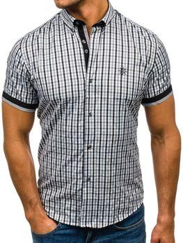 Černá pánská kostkovaná košile s krátkým rukávem Bolf 4510