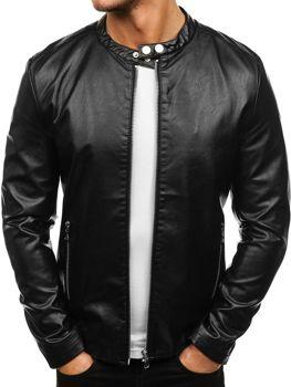 Černá pánská kožená bunda z ekokůže Bolf 8977