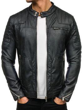 Černá pánská kožená bunda z ekokůže Bolf 9137