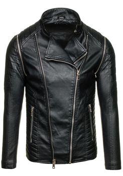 Černá pánská kožená bunda z ekokůže Bolf 9153