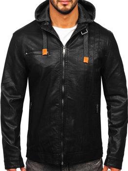 Černá pánská koženková bunda Bolf EX892