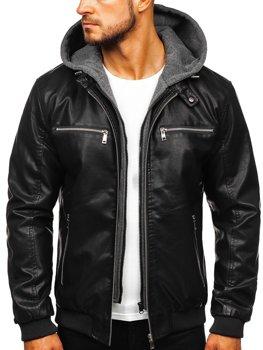 Černá pánská koženková bunda s kapucí Bolf 1105