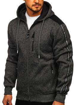 Černá pánská mikina na zip s kapucí Bolf TC960