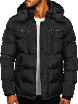 Černá pánská prošívaná zimní bunda Bolf 1182