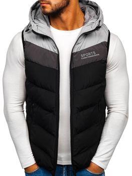 Černá pánská vesta s kapucí Bolf 5804