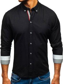 Černá pánská vzorovaná košile s dlouhým rukávem Bolf 8843