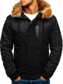 Černá pánská zimní bunda Bolf 1826