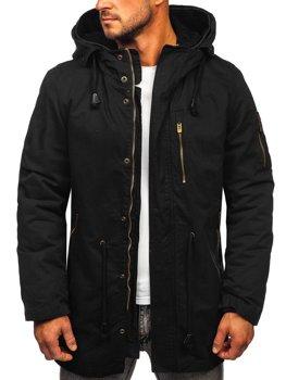 Černá pánská zimní/jarní bunda 2v1 parka s odepínací vložkou Bolf 5283