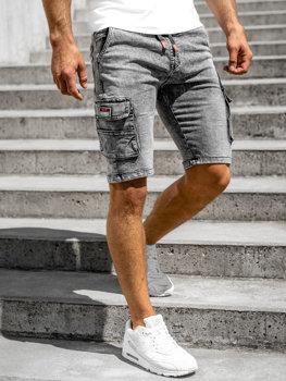 Černé pánské džínové kapsáčové kraťasy Bolf HY907