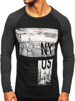 Černé pánské tričko s dlouhým rukávem a potiskem Bolf 1543