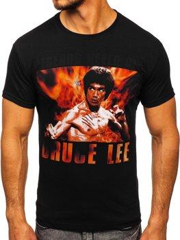 Černé pánské tričko s potiskem Bolf 001
