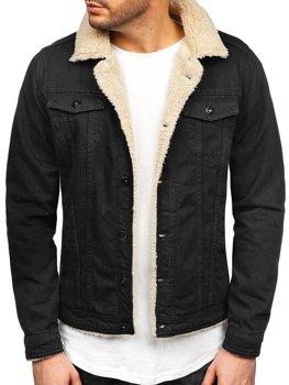 Černo-bílá pánská džínová bunda Bolf 1901