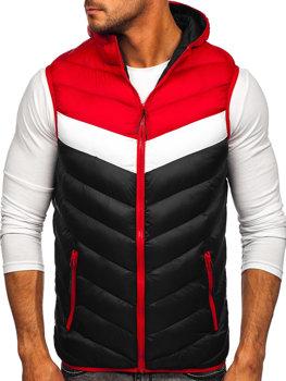 Černo-červená pánská prošíváná vesta s kapucí Bolf HDL88004