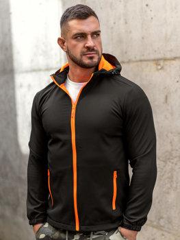 Černo-oranžová pánská přechodová softshellová bunda Bolf HH017