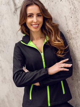 Černo-zelená dámská přechodová softshellová bunda Bolf HH018