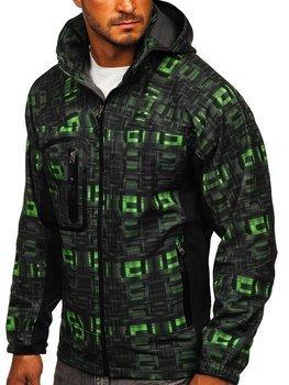 Černo-zelená pánská softshellová bunda Bolf T019N