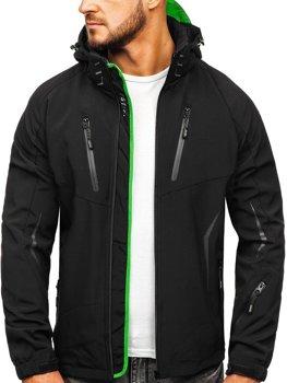 30c63df1e7b3 Černo-zelená pánská softshellová přechodová bunda Bolf 5612